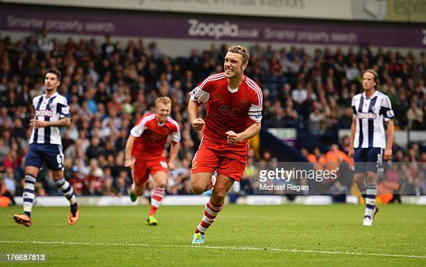 Rickie Lambert of Southampton celebrates scoring the winning goal during the Barclays Premier League match between West Bromwich Albion and...