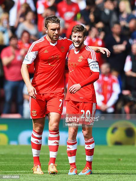 Rickie Lambert of Southampton celebrates with team mate Adam Lallana after scoring during the Barclays Premier League match between Southampton and...