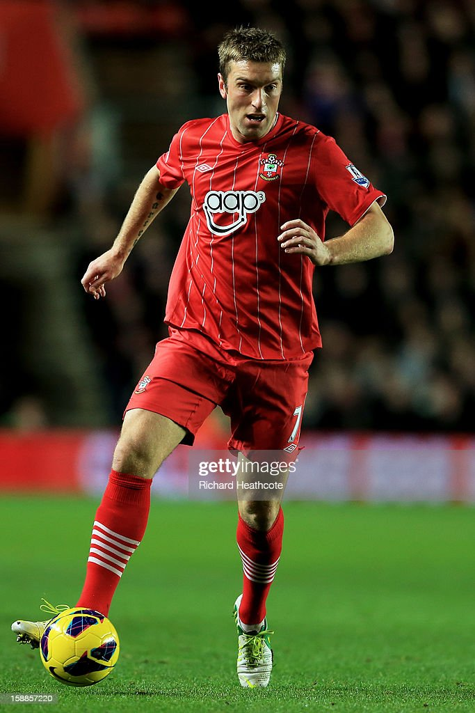 Rickie Lambert of Southampton controls the ball during the Barclays Premier league match between Southampton and Arsenal at St Mary's Stadium on January 1, 2013 in Southampton, England.