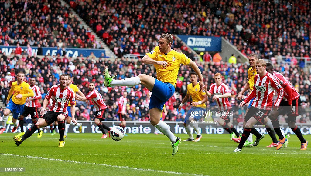 <a gi-track='captionPersonalityLinkClicked' href=/galleries/search?phrase=Rickie+Lambert&family=editorial&specificpeople=4124959 ng-click='$event.stopPropagation()'>Rickie Lambert</a> of Southampton in action during the Barclays Premier League match between Sunderland and Southampton at the Stadium of Light on May 12, 2013 in Sunderland, England.