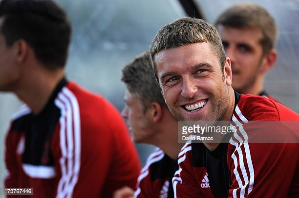Rickie Lambert of Southampton looks on during a friendly match between Southampton FC and UE Llagostera at the Josep Pla i Arbones Stadium on July 17...