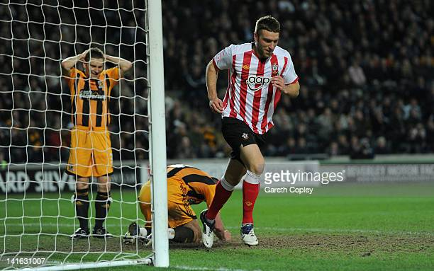 Rickie Lambert of Southampton runs away to celebrates after Jack Hobbs of Hull City scores an own goal during the npower Championship match between...