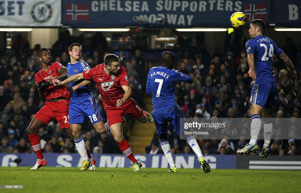 <a gi-track='captionPersonalityLinkClicked' href=/galleries/search?phrase=Rickie+Lambert&family=editorial&specificpeople=4124959 ng-click='$event.stopPropagation()'>Rickie Lambert</a> of Southampton scores his team's first goal of the game during the Barclays Premier League match between Chelsea and Southampton at Stamford Bridge on January 16, 2013 in London, England.