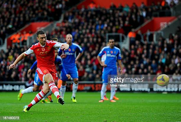 Rickie Lambert of Southampton scores their secondg goal from a penalty kick during the Barclays Premier League match between Southampton and Hull...