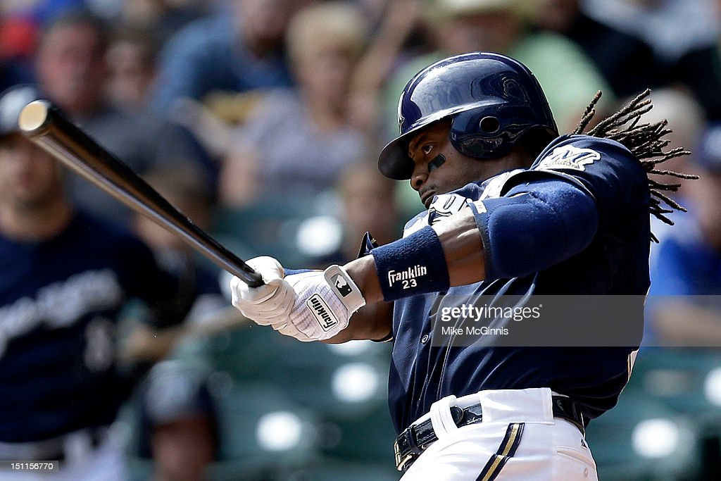 <a gi-track='captionPersonalityLinkClicked' href=/galleries/search?phrase=Rickie+Weeks&family=editorial&specificpeople=550245 ng-click='$event.stopPropagation()'>Rickie Weeks</a> #23 of the Milwaukee Brewers hits a single in the bottom of the 1st inning against the Pittsburgh Pirates at Miller Park on September 02, 2012 in Milwaukee, Wisconsin.