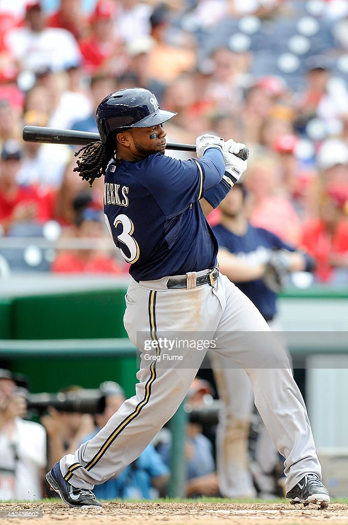 <a gi-track='captionPersonalityLinkClicked' href=/galleries/search?phrase=Rickie+Weeks&family=editorial&specificpeople=550245 ng-click='$event.stopPropagation()'>Rickie Weeks</a> #23 of the Milwaukee Brewers hits a single in the ninth inning against the Washington Nationals at Nationals Park on July 20, 2014 in Washington, DC. Washington won the game 5-4.