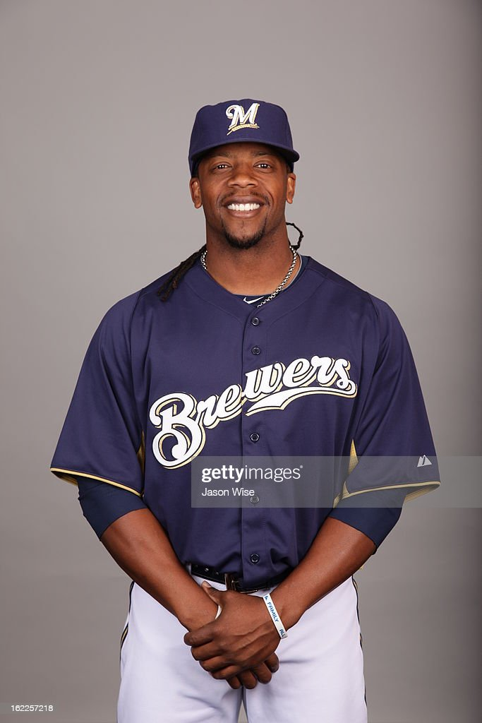<a gi-track='captionPersonalityLinkClicked' href=/galleries/search?phrase=Rickie+Weeks&family=editorial&specificpeople=550245 ng-click='$event.stopPropagation()'>Rickie Weeks</a> #23 of the Milwaukee Brewers poses during Photo Day on February 17, 2013 at Maryvale Baseball Park in Phoenix, Arizona.