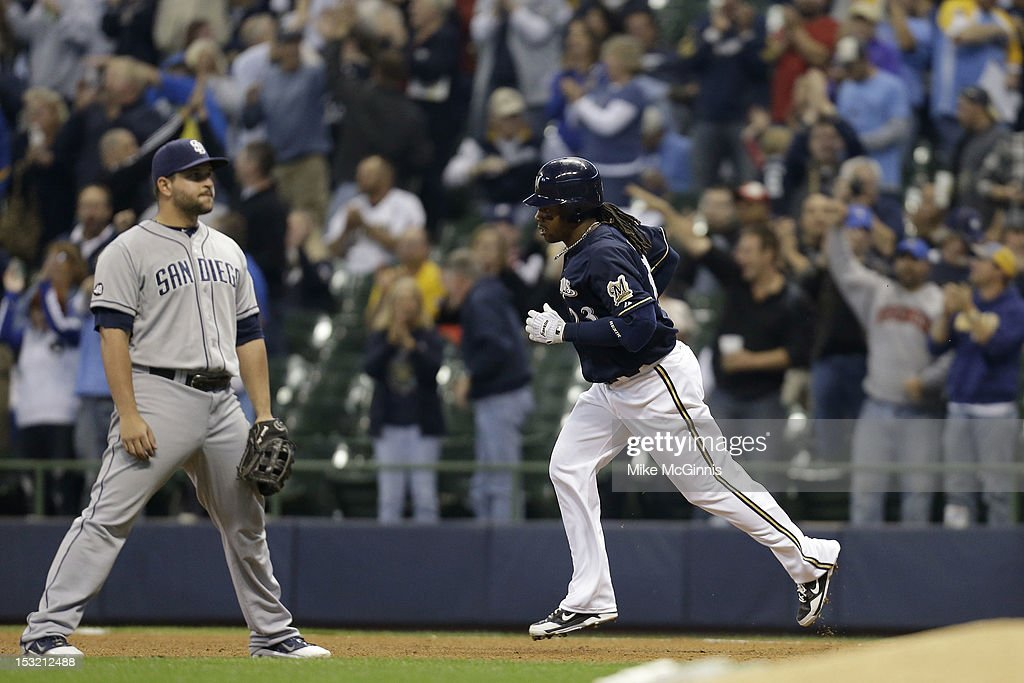 <a gi-track='captionPersonalityLinkClicked' href=/galleries/search?phrase=Rickie+Weeks&family=editorial&specificpeople=550245 ng-click='$event.stopPropagation()'>Rickie Weeks</a> #23 of the Milwaukee Brewers rounds the bases after hitting a two-run homer in the bottom of the 5th inning scoring Norichika Aoki against the San Diego Padres at Miller Park on October 1, 2012 in Milwaukee, Wisconsin.
