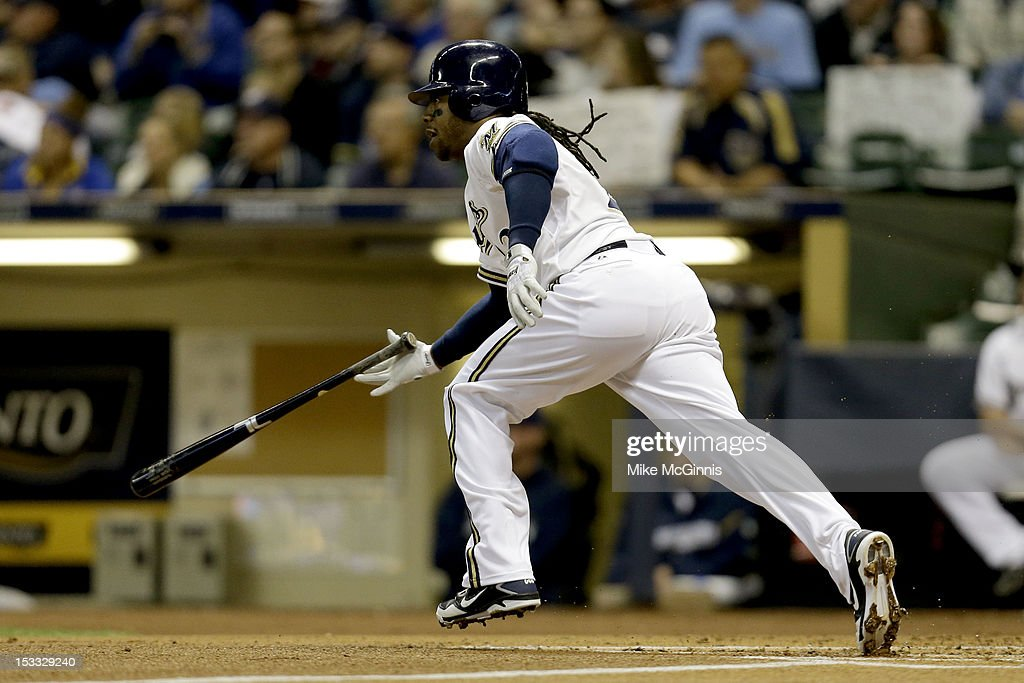 <a gi-track='captionPersonalityLinkClicked' href=/galleries/search?phrase=Rickie+Weeks&family=editorial&specificpeople=550245 ng-click='$event.stopPropagation()'>Rickie Weeks</a> #23 of the Milwaukee Brewers singles in the bottom of the first inning against the San Diego Padres at Miller Park on October 3, 2012 in Milwaukee, Wisconsin.