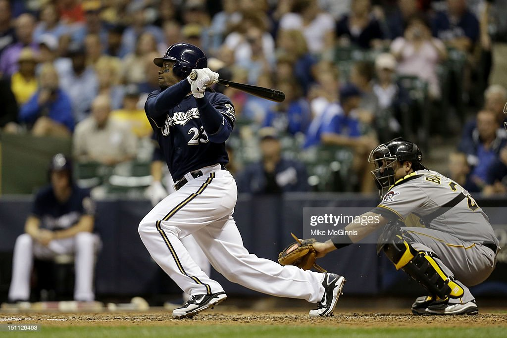 <a gi-track='captionPersonalityLinkClicked' href=/galleries/search?phrase=Rickie+Weeks&family=editorial&specificpeople=550245 ng-click='$event.stopPropagation()'>Rickie Weeks</a> #23 of the Milwaukee Brewers singles to break A.J. Burnett's no hitter in the bottom of the 6th inning against the Pittsburgh Pirates at Miller Park on September 01, 2012 in Milwaukee, Wisconsin.