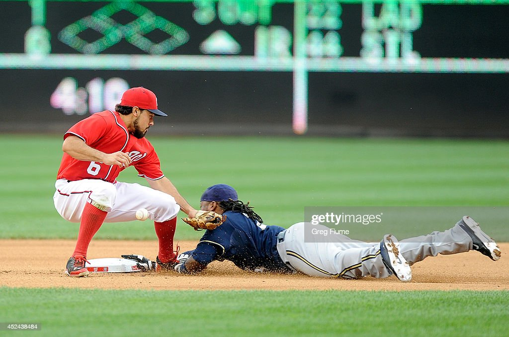 <a gi-track='captionPersonalityLinkClicked' href=/galleries/search?phrase=Rickie+Weeks&family=editorial&specificpeople=550245 ng-click='$event.stopPropagation()'>Rickie Weeks</a> #23 of the Milwaukee Brewers steals second base in the seventh inning as the throw gets away from <a gi-track='captionPersonalityLinkClicked' href=/galleries/search?phrase=Anthony+Rendon&family=editorial&specificpeople=7539238 ng-click='$event.stopPropagation()'>Anthony Rendon</a> #6 of the Washington Nationals at Nationals Park on July 20, 2014 in Washington, DC.