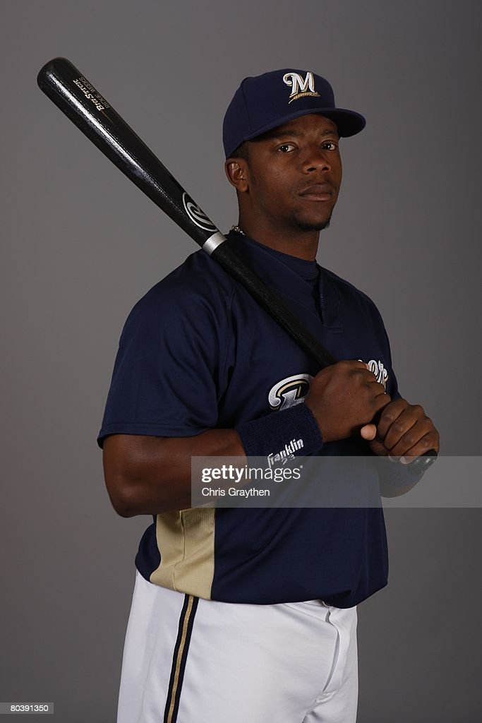 Rickie Weeks poses for a photo during the Milwaukee Brewers Spring Training Photo Day at Maryvale Baseball Park on February 26 2008 in Maryvale...