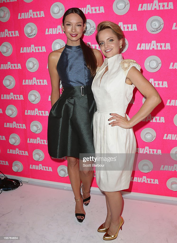 Ricki-Lee Coulter and Mena Suvari attend the Lavazza marquee on Crown Oaks Day at Flemington Racecourse on November 8, 2012 in Melbourne, Australia.
