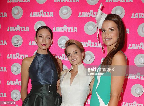 RickiLee Coulter Mena Suvari and Vogue Williams attend the Lavazza marquee on Crown Oaks Day at Flemington Racecourse on November 8 2012 in Melbourne...