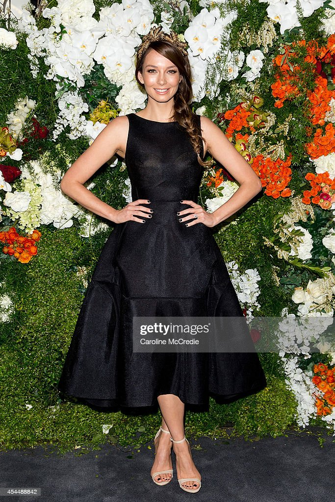 Ricki-Lee Coulter poses at the launch of the 2014 Sydney Spring Carnival at Royal Randwick Racecourse on September 2, 2014 in Sydney, Australia.