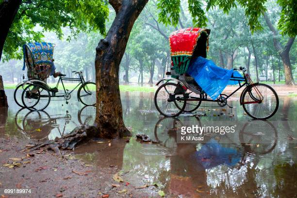 UNIVERCITY DHAKA BANGLADESH Rickshaw pullers take rest in the open place when heavy rainfall made in Dhaka city The death toll rises to 156 in...