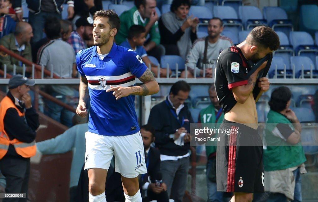 Ricky Alvarez celebrates after scoring to make it 2-0 during the Serie A match between UC Sampdoria and AC Milan at Stadio Luigi Ferraris on September 24, 2017 in Genoa, Italy.