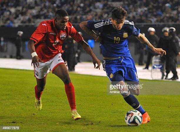 Ricky Alvarez of Argetnina during a FIFA friendly match between Argentina and Trinidad Tobago at Monumental Antonio Vespucio Liberti Stadium on June...