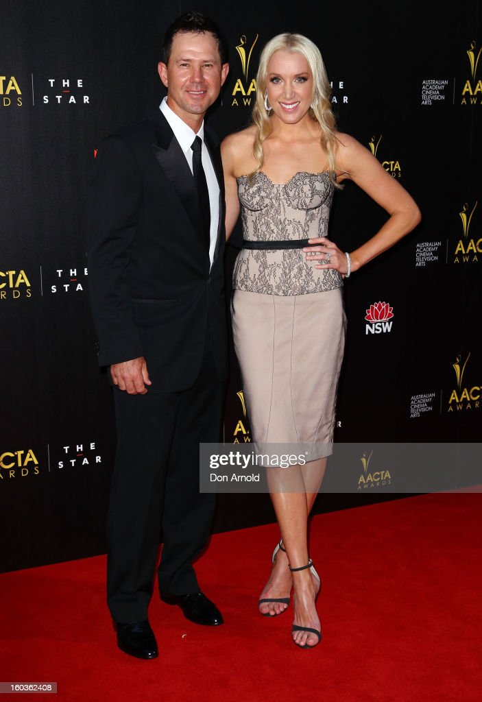 Ricky and Rianna Ponting arrive for the 2nd Annual AACTA Awards at The Star on January 30, 2013 in Sydney, Australia.