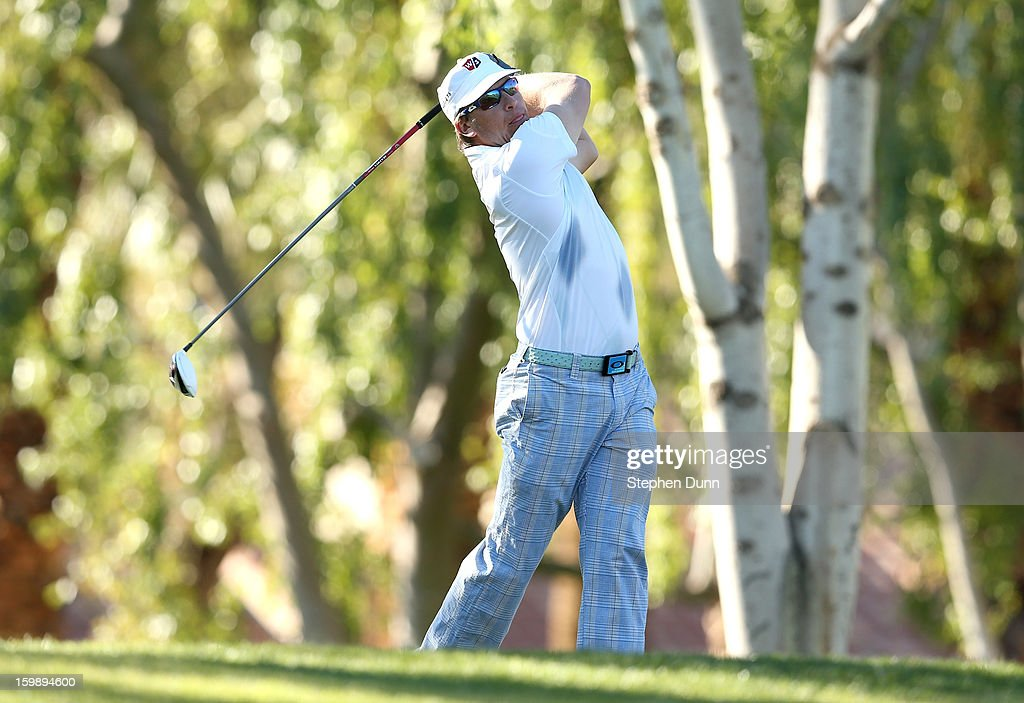 <a gi-track='captionPersonalityLinkClicked' href=/galleries/search?phrase=Ricky+Barnes&family=editorial&specificpeople=171822 ng-click='$event.stopPropagation()'>Ricky Barnes</a> hits his tee shot on the second hole during the third round of the Humana Challenge In Partnership With The Clinton Foundation on the Palmer Private Course at PGA West on January 19, 2013 in La Quinta, California.