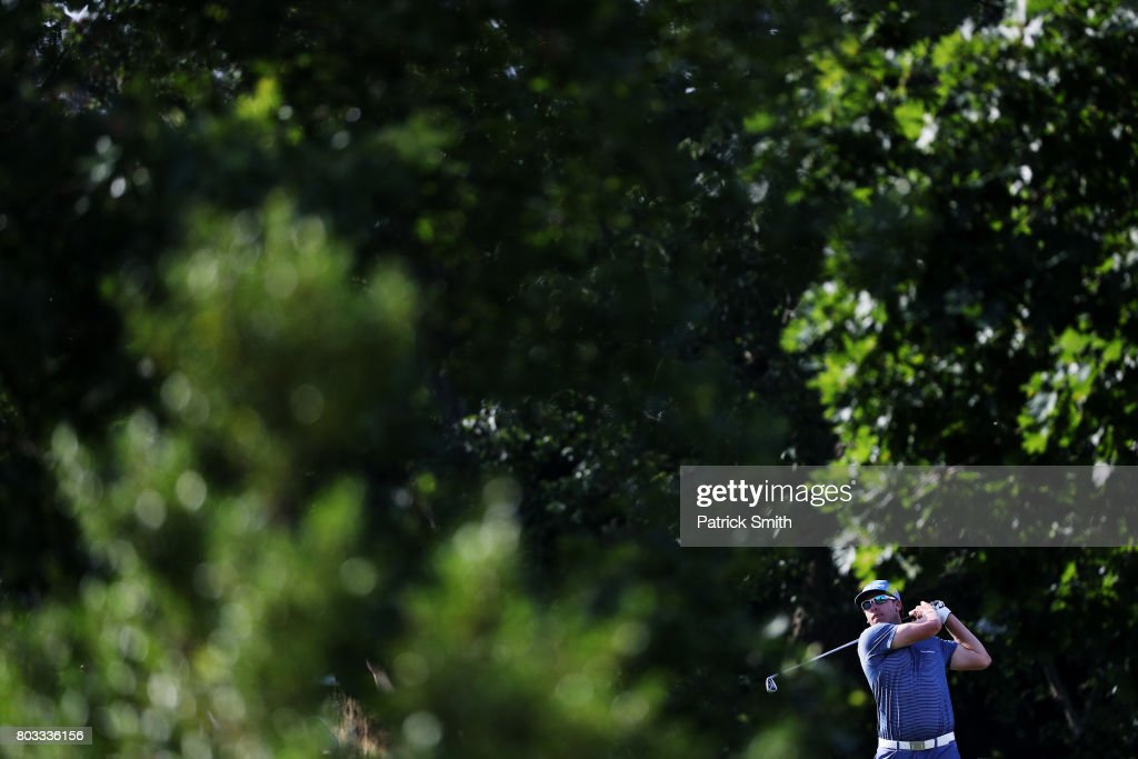 Ricky Barnes of the United States plays his shot from the 14th tee during the first round of the Quicken Loans National on June 29, 2017 TPC Potomac in Potomac, Maryland.