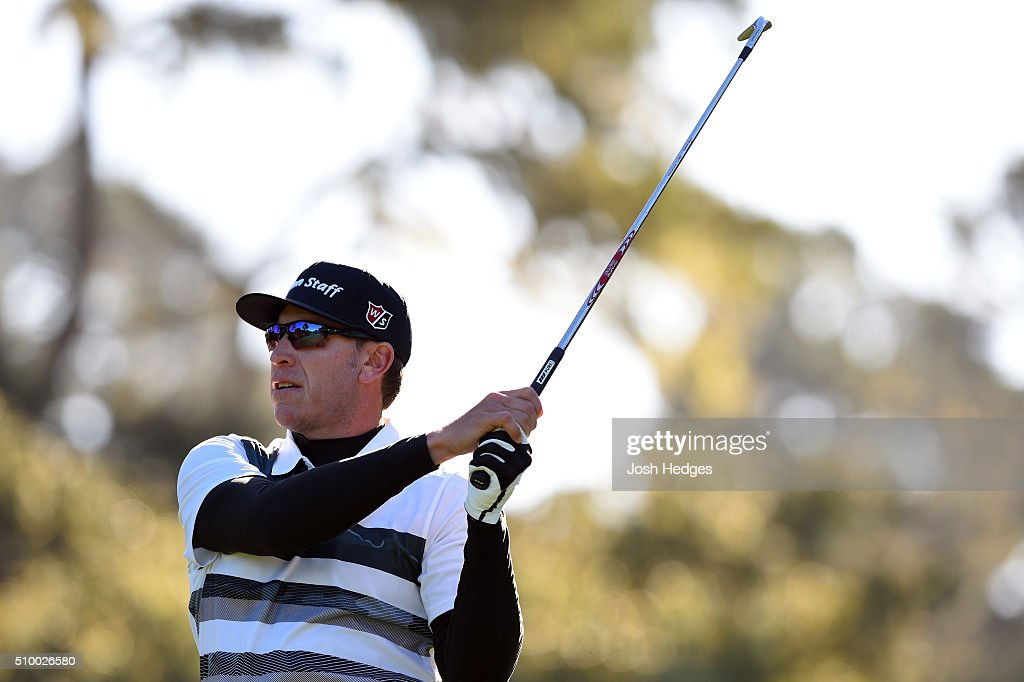 <a gi-track='captionPersonalityLinkClicked' href=/galleries/search?phrase=Ricky+Barnes&family=editorial&specificpeople=171822 ng-click='$event.stopPropagation()'>Ricky Barnes</a> plays his tee shot on the 12th hole during round three of the AT&T Pebble Beach National Pro-Am at the Spyglass Hill Golf Course on February 13, 2016 in Pebble Beach, California.