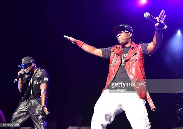 Ricky Bell and Michael Bivins of Bell Biv Devoe perform during KBLX Hot Summer Night at Concord Pavilion on September 6 2015 in Concord California