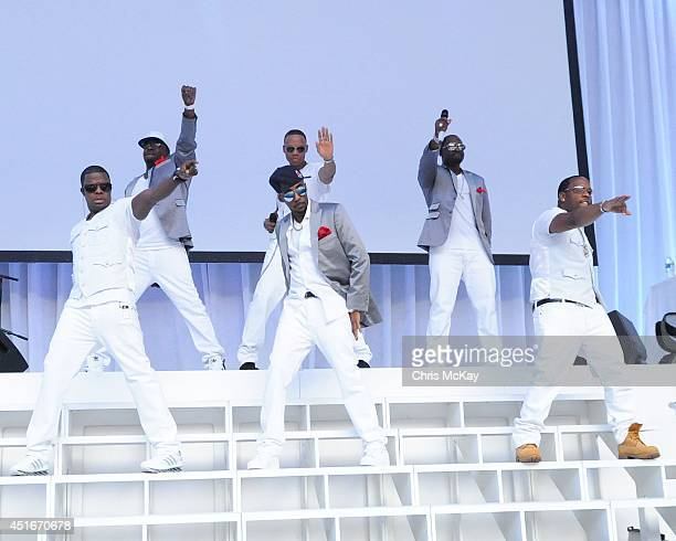 Ricky Bell Bobby Brown Ralph Tresvant Ronnie DeVoe Johnny Gill and Michael Bivins of New Edition perform at their reunion show at Chastain Park...