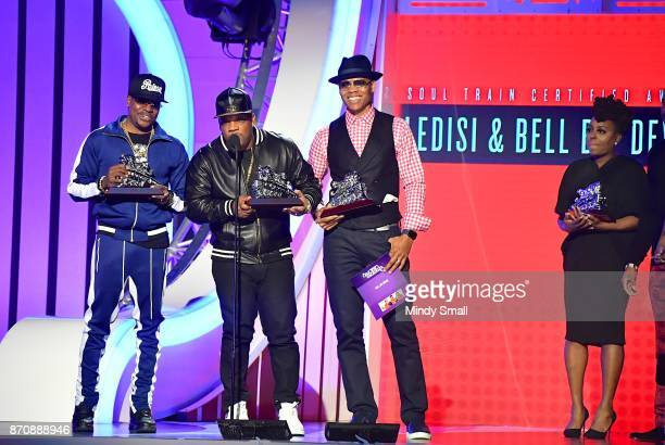 Ricky Bell Michael Bivins and Ronnie DeVoe of Bell Biv DeVoe accept the Soul Train Certified Award during the 2017 Soul Train Music Awards at the...