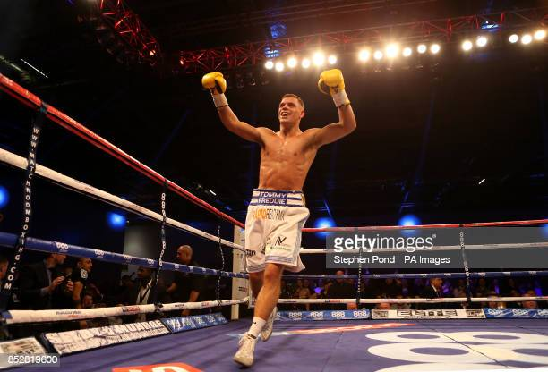 Ricky Boylan celebrates defeating Tony Owen in their their Southern Area LightWelterweight Title fight at the ExCel Arena London