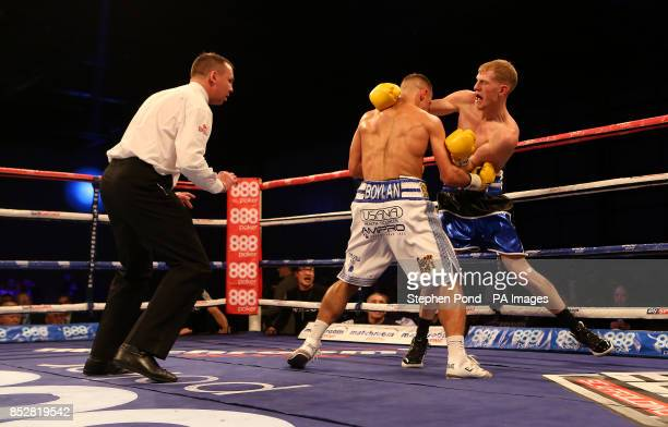 Ricky Boylan in action against Tony Owen in their their Southern Area LightWelterweight Title fight at the ExCel Arena London