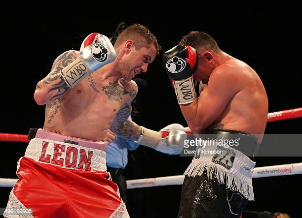 Ricky Burns and Josh King during their Lightweight contest at the Echo Arena on November 7 2015 in Liverpool England