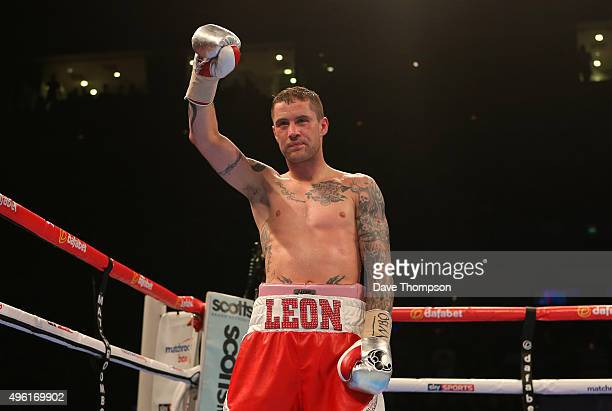 Ricky Burns celebrates beating Josh King during their Lightweight contest at the Echo Arena on November 7 2015 in Liverpool England