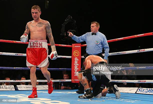 Ricky Burns knocks out Josh King during their Lightweight contest at the Echo Arena on November 7 2015 in Liverpool England