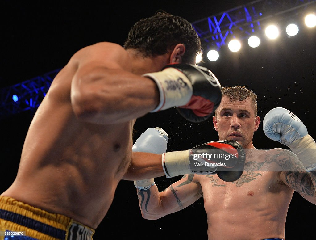<a gi-track='captionPersonalityLinkClicked' href=/galleries/search?phrase=Ricky+Burns&family=editorial&specificpeople=4145249 ng-click='$event.stopPropagation()'>Ricky Burns</a> of Scotland (White Shorts) and Michele Di Rocco of Italy (Blue Shorts) during the WBA world super-lightweight title fight at The SSE Hydro on May 28, 2016 in Glasgow, Scotland.