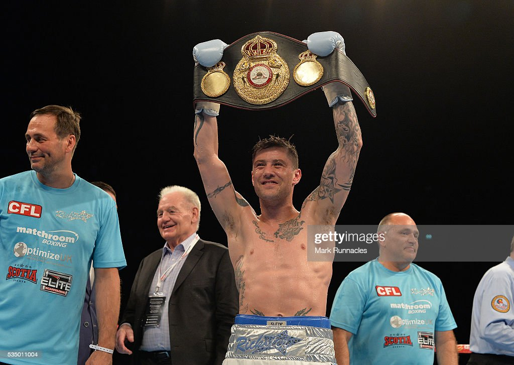<a gi-track='captionPersonalityLinkClicked' href=/galleries/search?phrase=Ricky+Burns&family=editorial&specificpeople=4145249 ng-click='$event.stopPropagation()'>Ricky Burns</a> of Scotland celebrates after beating Michele Di Rocco to win the WBA world super-lightweight title fight at The SSE Hydro on May 28, 2016 in Glasgow, Scotland.