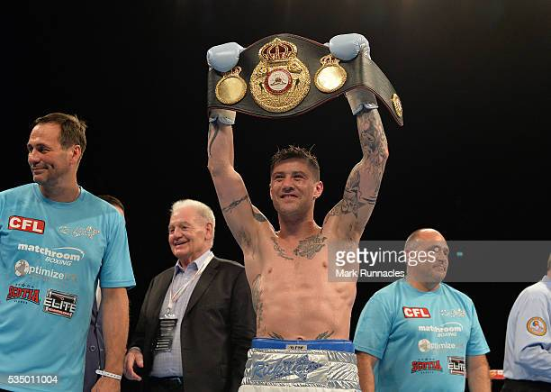 Ricky Burns of Scotland celebrates after beating Michele Di Rocco to win the WBA world superlightweight title fight at The SSE Hydro on May 28 2016...