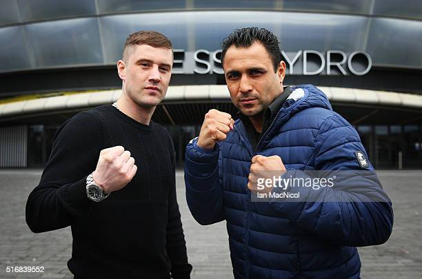 Ricky Burns poses with Michele Di Rocco during the Ricky Burns and Michele Di Rocco Press Conference at The SSEC on March 21 2016 in Glasgow Scotland