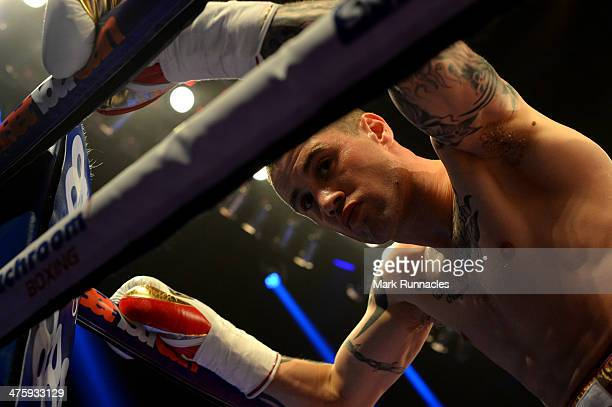Ricky Burns takes a moment before the WBO World Lightweight Championship Boxing match at the Glasgow SECC on March 1 2014 in Glasgow Scotland