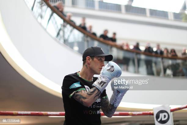 Ricky Burns takes part in a public work out at The St Enoch's Centre ahead of his SuperLightweight WBA IBF fight against Julius Indongo on April 11...