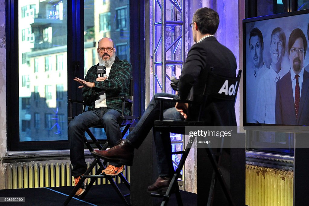 Ricky Camilleri (R) interviews David Cross during AOL BUILD Series: David Cross, 'Todd Margaret' at AOL Studios In New York on January 6, 2016 in New York City.