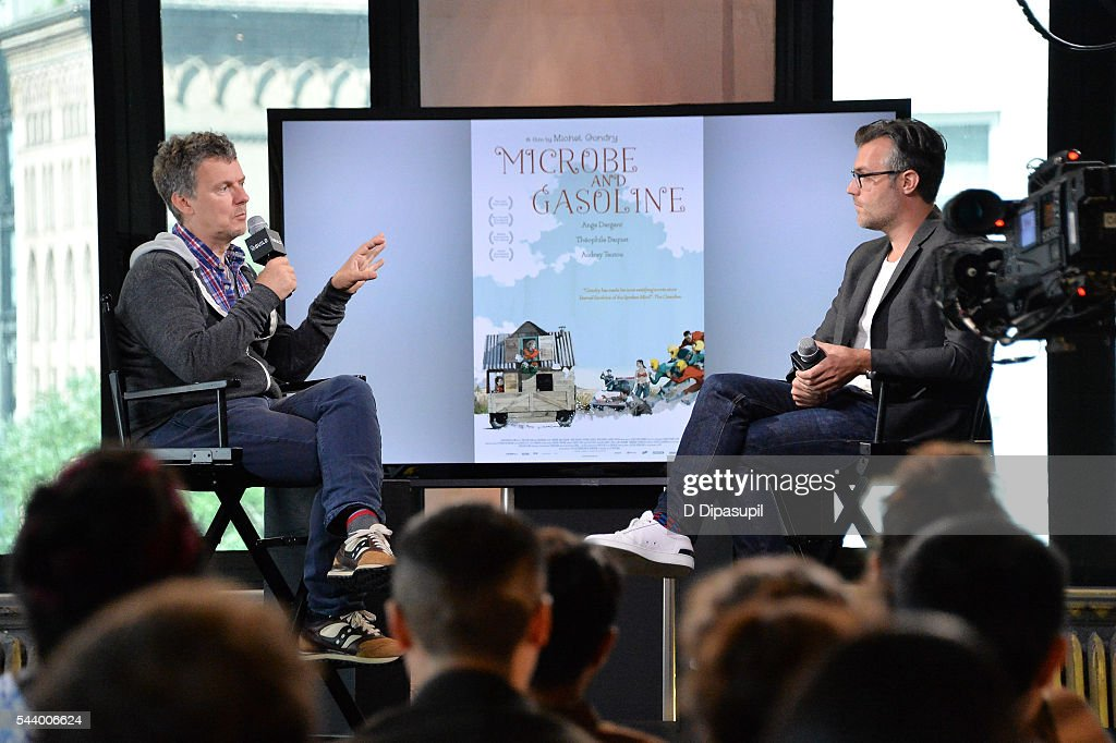 Ricky Camilleri (R) interviews <a gi-track='captionPersonalityLinkClicked' href=/galleries/search?phrase=Michel+Gondry&family=editorial&specificpeople=216337 ng-click='$event.stopPropagation()'>Michel Gondry</a> during the AOL Build Speaker Series at AOL Studios In New York on June 30, 2016 in New York City.
