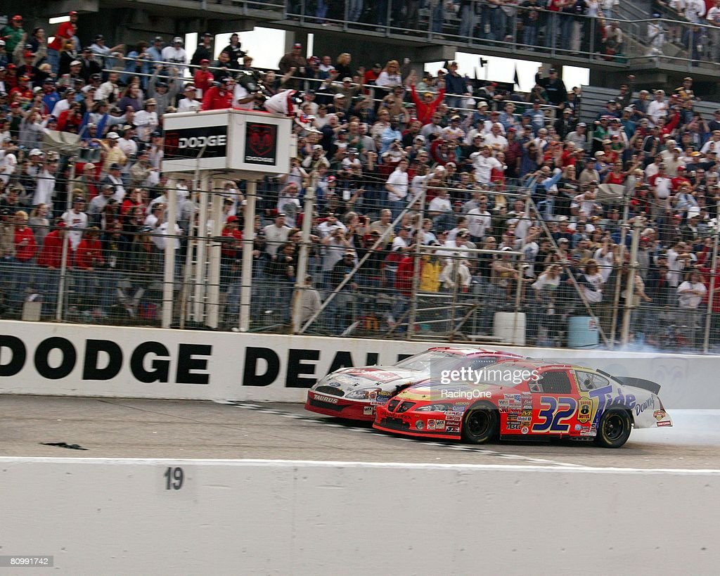 Ricky Craven edged Kurt Busch by .002 of a second in the 2003 Carolina Dodge Dealers 400, to post the closest finish in NASCAR Cup Series history. The two waged an amazing fender-banging duel during the final laps to please the estimated crowd of 55,000.