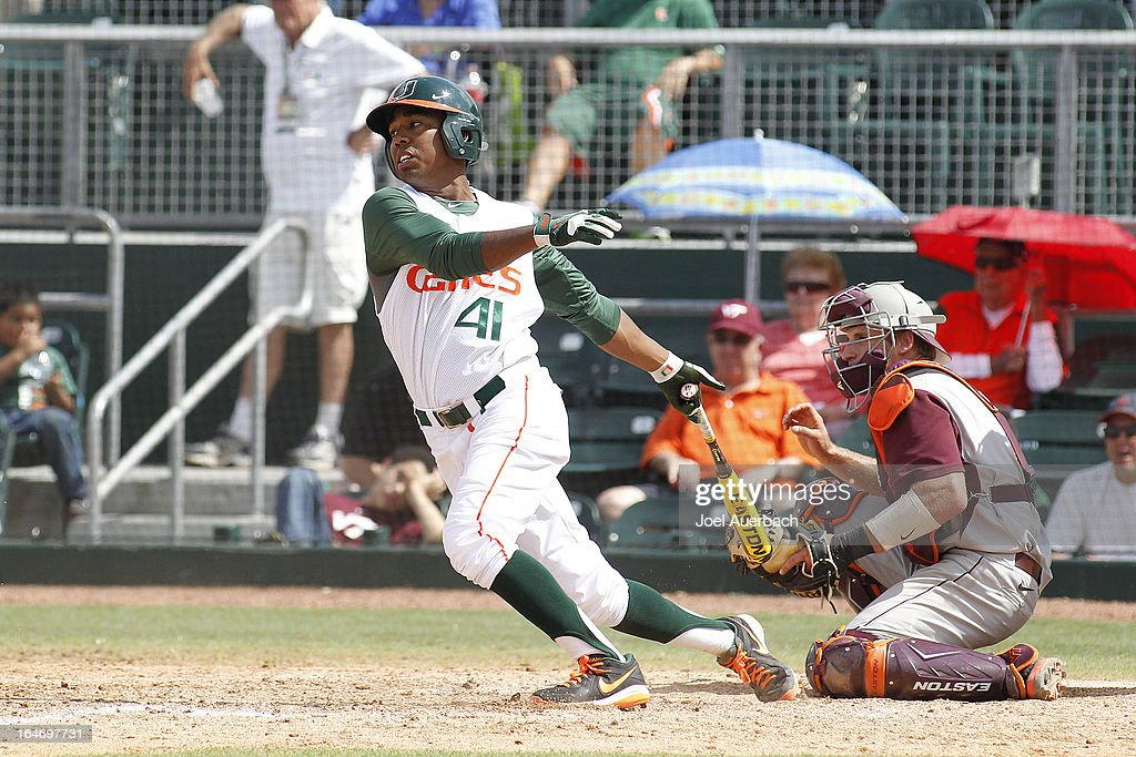 Ricky Eusebio #41 of the Miami Hurricanes bats against the Virginia Tech Hokies on March 24, 2013 at Alex Rodriguez Park at Mark Light Field in Coral Gables, Florida. Virginia Tech defeated Miami 8-5 in 10 innings.