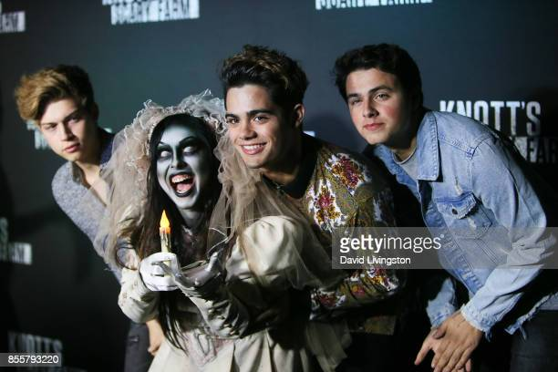 Ricky Garcia Emery Kelly and Liam Attridge attend the Knott's Scary Farm and Instagram's Celebrity Night at Knott's Berry Farm on September 29 2017...