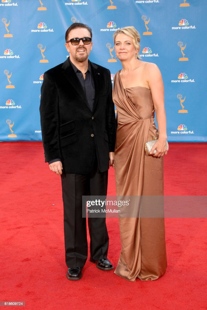 Ricky Gervais and ? attend 62nd Annual Primetime Emmy Awards - Arrivals at Nokia Theatre LA Live on August 29, 2010 in Los Angeles, CA.