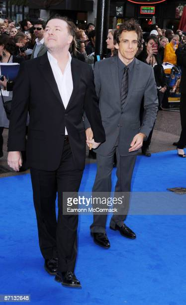 Ricky Gervais and Ben Stiller attend the world premiere of 'Night at the Museum 2' at Empire Leicester Square on May 12 2009 in London England