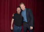 Ricky Gervais and Conan O'Brien attend the Academy Screening Of Netflix Series 'Derek' Season 2 Premiere at Leonard H Goldenson Theatre on May 27...