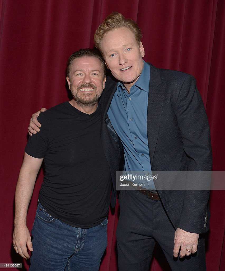 Ricky Gervais and Conan O'Brien attend the Academy Screening Of Netflix Series 'Derek' Season 2 Premiere at Leonard H. Goldenson Theatre on May 27, 2014 in North Hollywood, California.