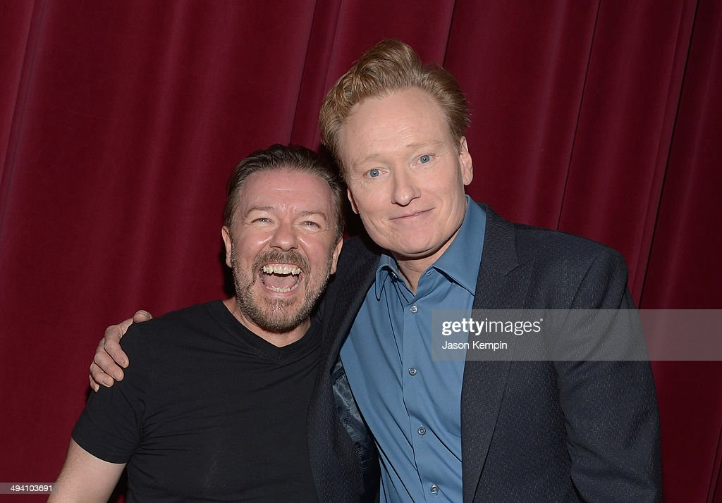 <a gi-track='captionPersonalityLinkClicked' href=/galleries/search?phrase=Ricky+Gervais&family=editorial&specificpeople=209237 ng-click='$event.stopPropagation()'>Ricky Gervais</a> and <a gi-track='captionPersonalityLinkClicked' href=/galleries/search?phrase=Conan+O%27Brien&family=editorial&specificpeople=208095 ng-click='$event.stopPropagation()'>Conan O'Brien</a> attend the Academy Screening Of Netflix Series 'Derek' Season 2 Premiere at Leonard H. Goldenson Theatre on May 27, 2014 in North Hollywood, California.